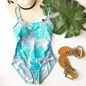 Cruise Vacation Floral One Piece Blue Swimsuit 14